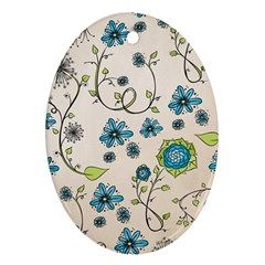 Whimsical Flowers Blue Oval Ornament