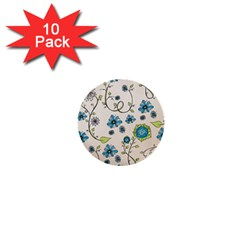 Whimsical Flowers Blue 1  Mini Button (10 Pack)