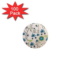 Whimsical Flowers Blue 1  Mini Button Magnet (100 pack)