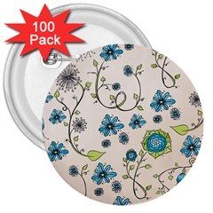 Whimsical Flowers Blue 3  Button (100 Pack)