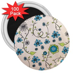 Whimsical Flowers Blue 3  Button Magnet (100 Pack)