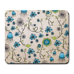 Whimsical Flowers Blue Large Mouse Pad (Rectangle)