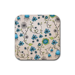 Whimsical Flowers Blue Drink Coaster (Square)