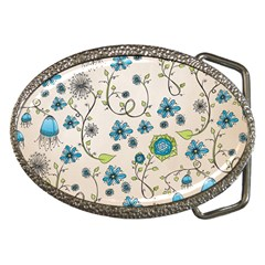 Whimsical Flowers Blue Belt Buckle (Oval)