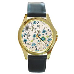 Whimsical Flowers Blue Round Leather Watch (Gold Rim)