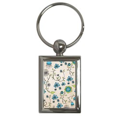 Whimsical Flowers Blue Key Chain (Rectangle)