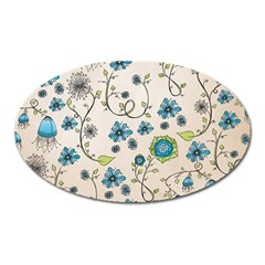 Whimsical Flowers Blue Magnet (oval)