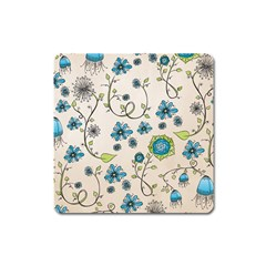 Whimsical Flowers Blue Magnet (Square)