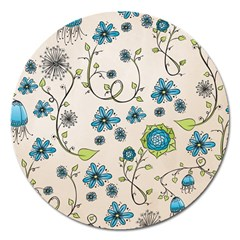 Whimsical Flowers Blue Magnet 5  (Round)