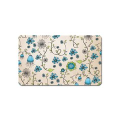 Whimsical Flowers Blue Magnet (Name Card)