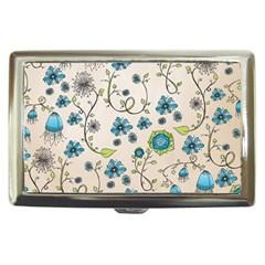 Whimsical Flowers Blue Cigarette Money Case