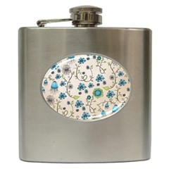 Whimsical Flowers Blue Hip Flask