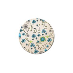Whimsical Flowers Blue Golf Ball Marker 4 Pack