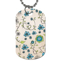 Whimsical Flowers Blue Dog Tag (two Sided)