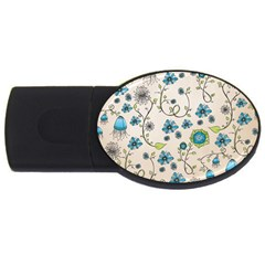 Whimsical Flowers Blue 2gb Usb Flash Drive (oval)