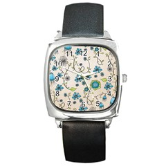 Whimsical Flowers Blue Square Leather Watch