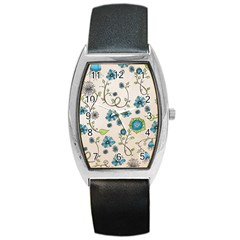 Whimsical Flowers Blue Tonneau Leather Watch