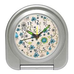 Whimsical Flowers Blue Desk Alarm Clock