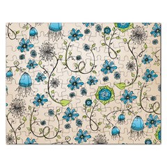 Whimsical Flowers Blue Jigsaw Puzzle (Rectangle)