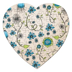 Whimsical Flowers Blue Jigsaw Puzzle (Heart)