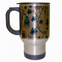 Whimsical Flowers Blue Travel Mug (Silver Gray)
