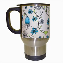 Whimsical Flowers Blue Travel Mug (white)