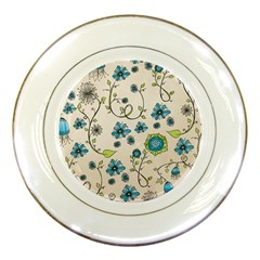 Whimsical Flowers Blue Porcelain Display Plate