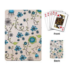 Whimsical Flowers Blue Playing Cards Single Design