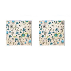 Whimsical Flowers Blue Cufflinks (square)