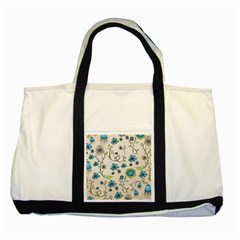 Whimsical Flowers Blue Two Toned Tote Bag