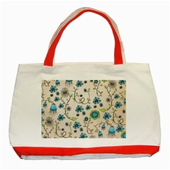 Whimsical Flowers Blue Classic Tote Bag (Red)