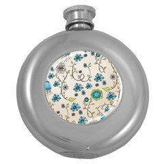 Whimsical Flowers Blue Hip Flask (Round)