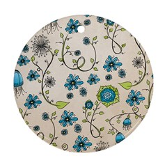 Whimsical Flowers Blue Round Ornament (Two Sides)