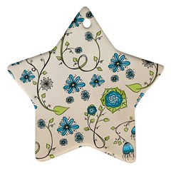 Whimsical Flowers Blue Star Ornament (Two Sides)
