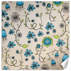 Whimsical Flowers Blue Canvas 20  x 20  (Unframed)