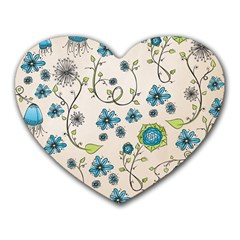 Whimsical Flowers Blue Mouse Pad (Heart)