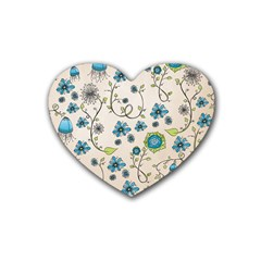 Whimsical Flowers Blue Drink Coasters (heart)