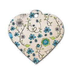 Whimsical Flowers Blue Dog Tag Heart (Two Sided)