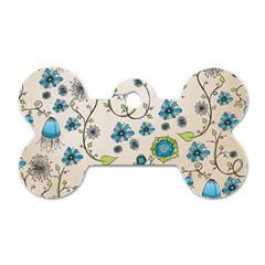 Whimsical Flowers Blue Dog Tag Bone (two Sided)