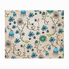 Whimsical Flowers Blue Glasses Cloth (Small, Two Sided)