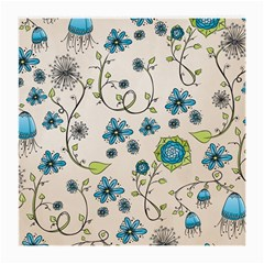 Whimsical Flowers Blue Glasses Cloth (medium, Two Sided)