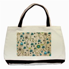 Whimsical Flowers Blue Twin-sided Black Tote Bag