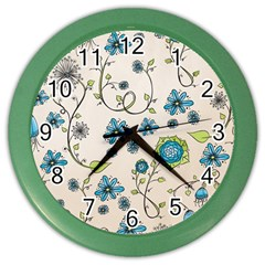 Whimsical Flowers Blue Wall Clock (Color)