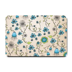 Whimsical Flowers Blue Small Door Mat