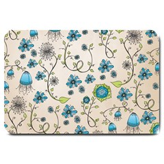 Whimsical Flowers Blue Large Door Mat