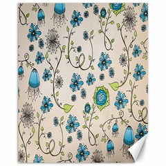 Whimsical Flowers Blue Canvas 11  X 14  (unframed)