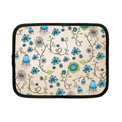 Whimsical Flowers Blue Netbook Sleeve (small)