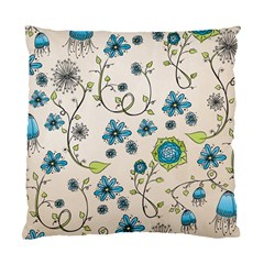 Whimsical Flowers Blue Cushion Case (two Sided)