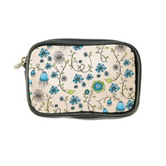 Whimsical Flowers Blue Coin Purse