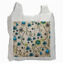 Whimsical Flowers Blue White Reusable Bag (Two Sides)